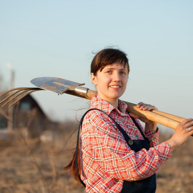"""""""Happy farmer in rural"""" stock image"""