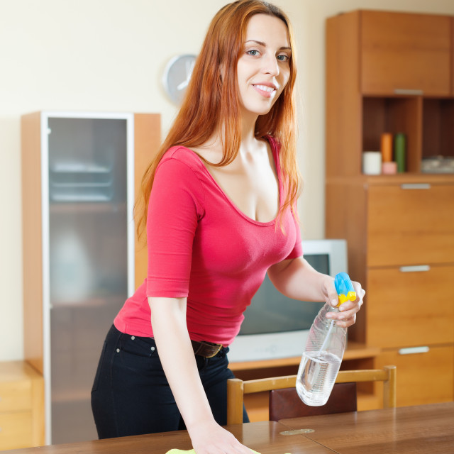 """""""girl cleaning table with furniture polish at living room"""" stock image"""