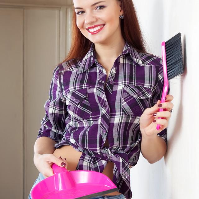"""Portrait of happy housewife"" stock image"