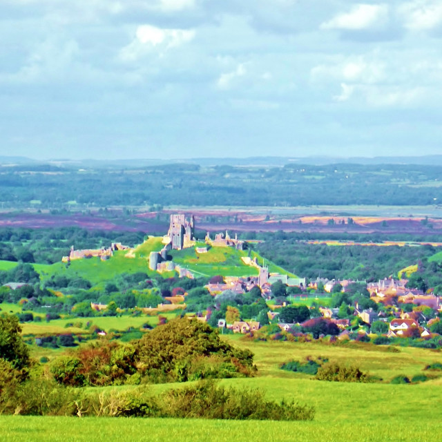 """Looking down at Corfe Castle"" stock image"