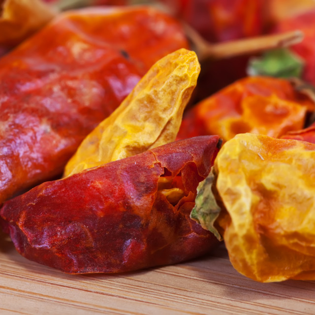 """dried red chilly pepper"" stock image"