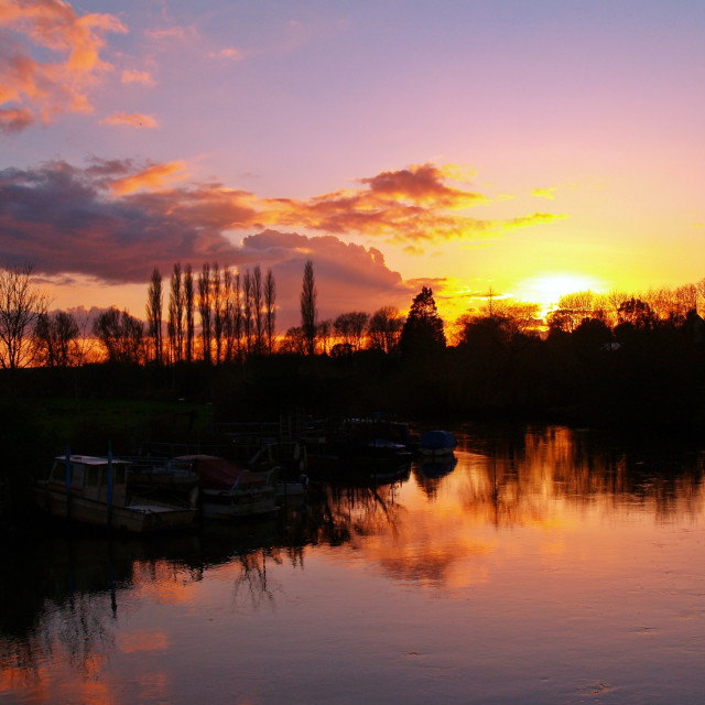 """Sunset over the River Frome"" stock image"