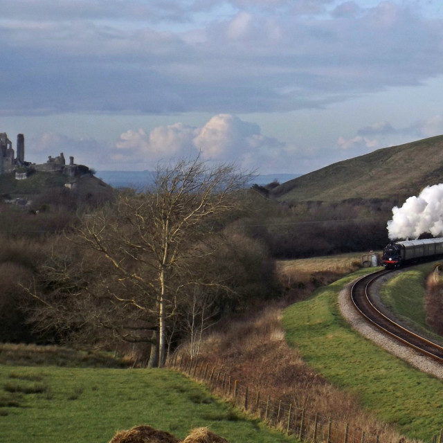 """Steam at Corfe Castle"" stock image"
