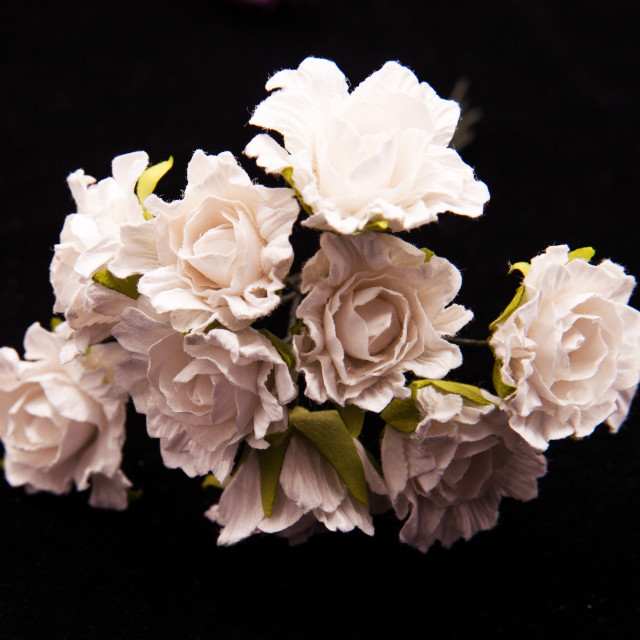 """White artificial flowers"" stock image"