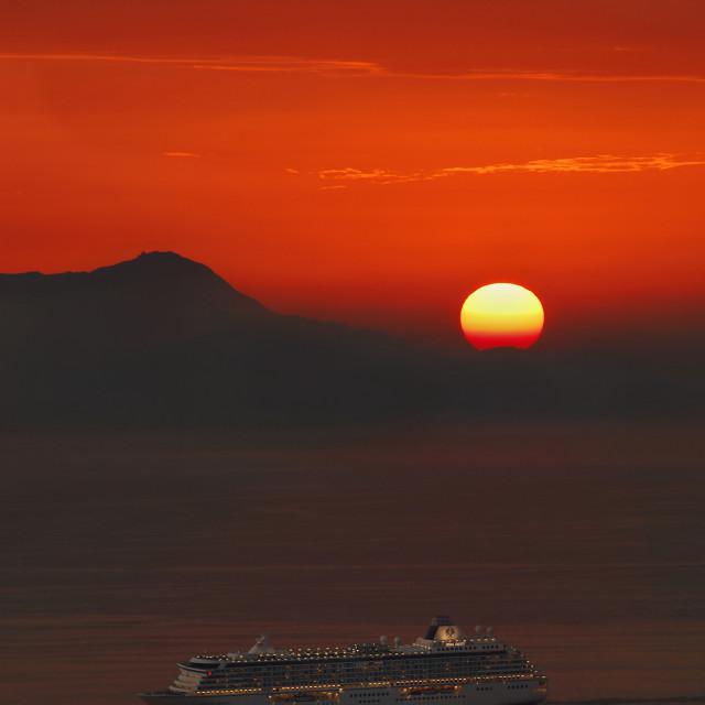 """ship at sunset"" stock image"