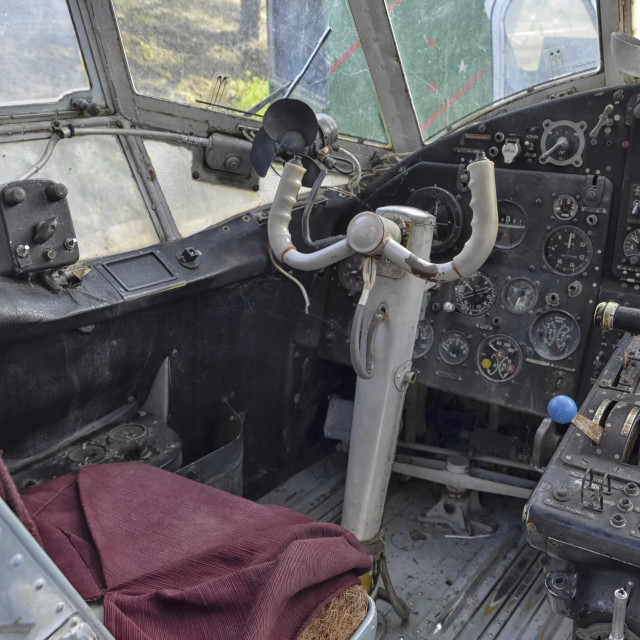 """""""The old flight deck of the An-2"""" stock image"""