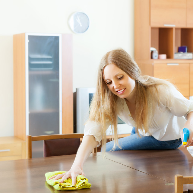 """""""girl cleaning table with furniture polish"""" stock image"""