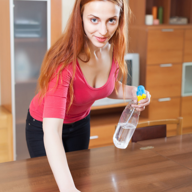 """""""girl in red cleaning table with polish"""" stock image"""