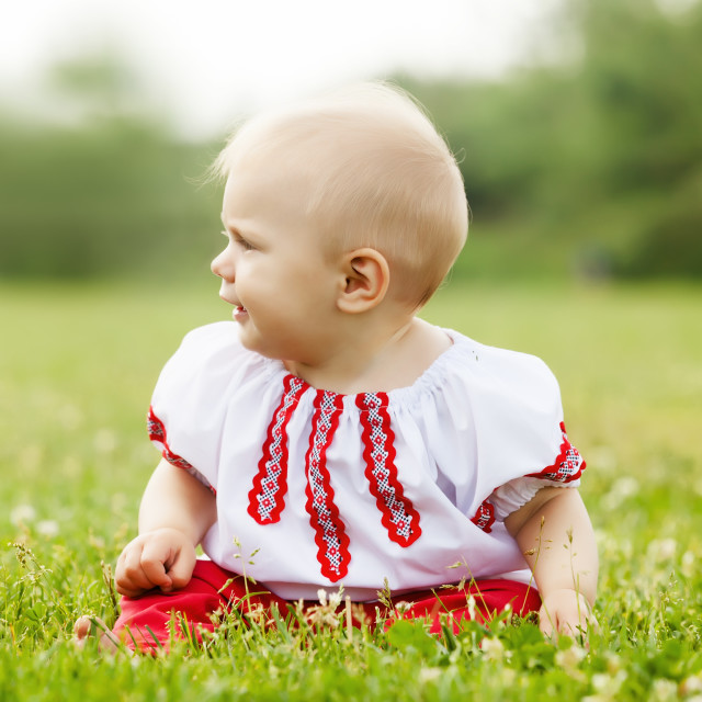 """""""toddler in russian folk clothes"""" stock image"""
