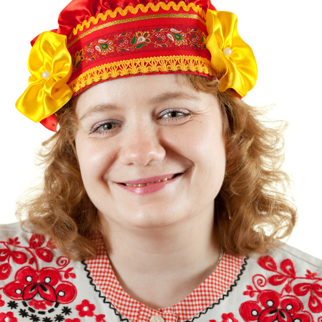 """""""woman in Russian folk clothes"""" stock image"""