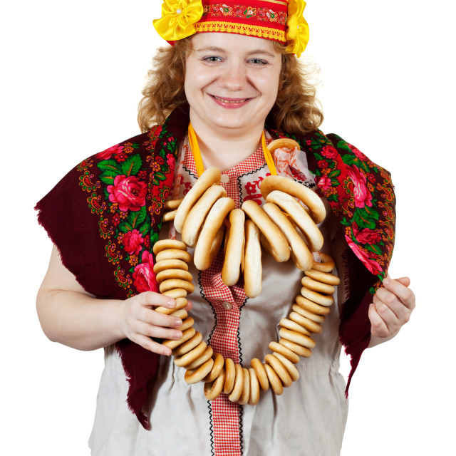 """""""woman in Russian traditional clothes"""" stock image"""