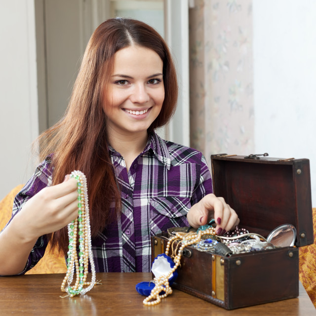 """portrait of beautiful girl with treasure chest"" stock image"