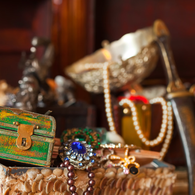 """Treasure chests with jewellery"" stock image"