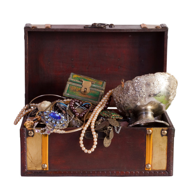 """treasure chest with jewellery"" stock image"