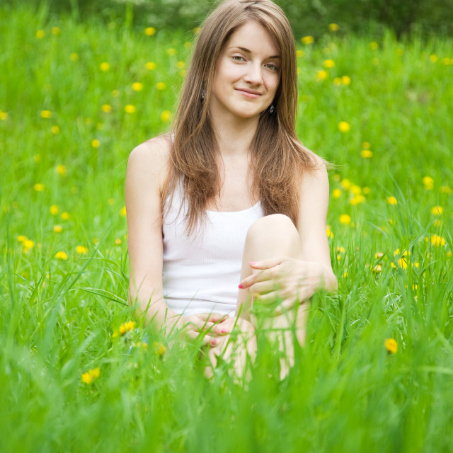 """teen girl in grass"" stock image"