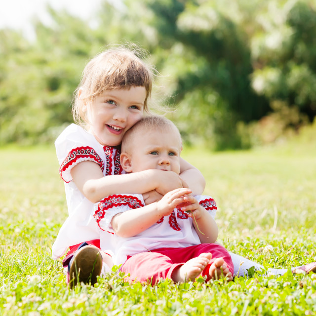 """""""happy children in russian folk clothes on meadow"""" stock image"""