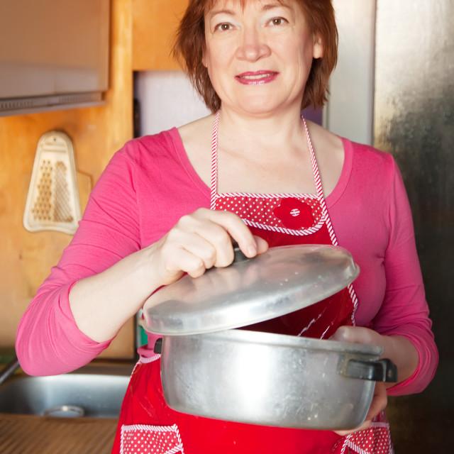 """Woman with aluminium saucepan"" stock image"