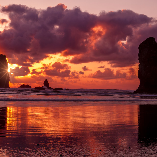 """Sunset at Cannon Beach Oregon"" stock image"