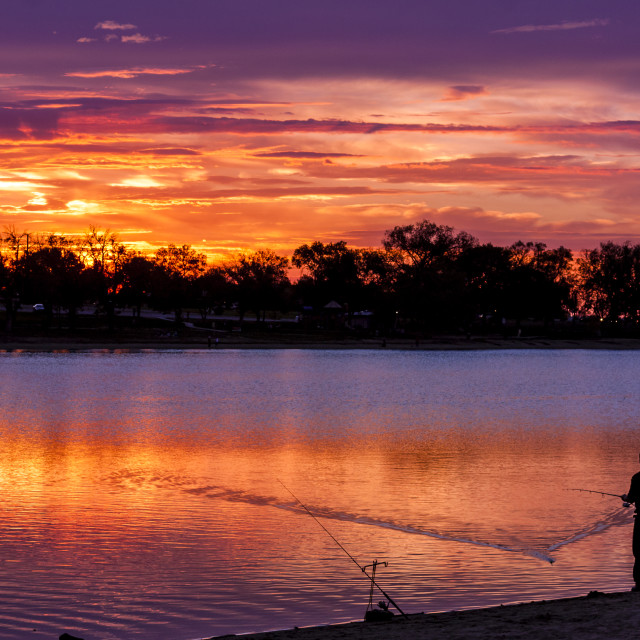 """Fisherman at Sunrise"" stock image"