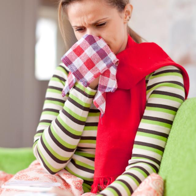 """illness woman uses handkerchief"" stock image"