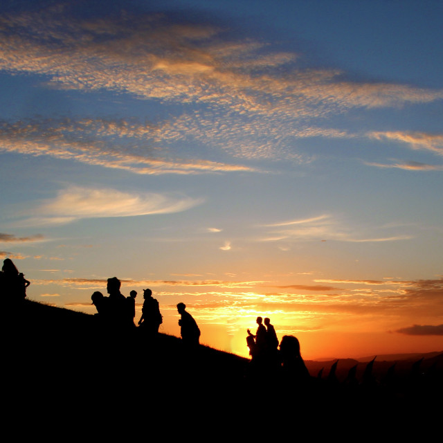 """Glastonbury Sunset"" stock image"