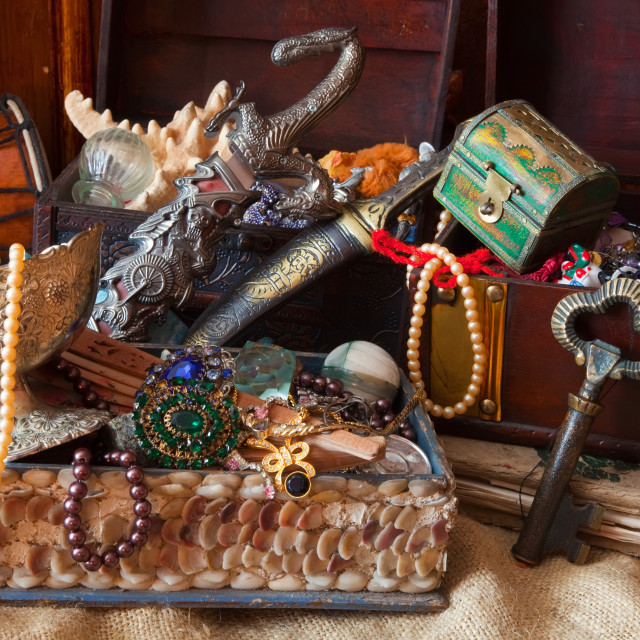 """treasure chests with vintage jewellery"" stock image"
