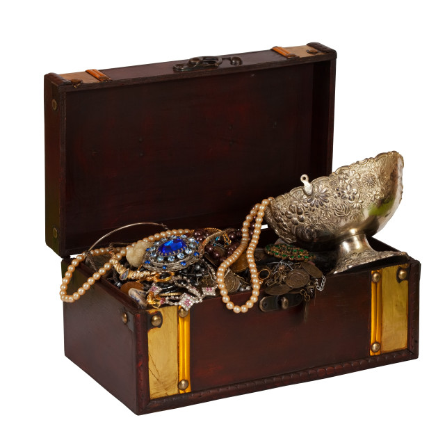 """wooden treasure chest"" stock image"