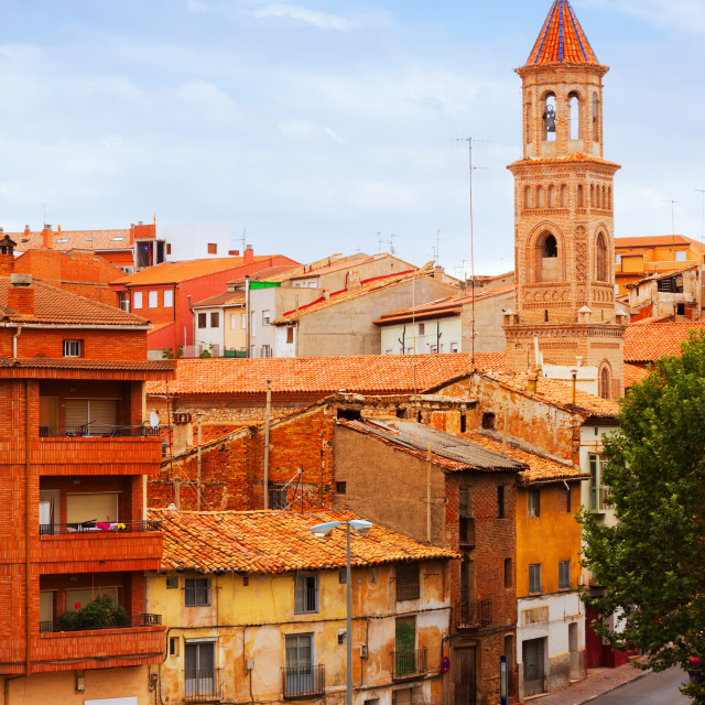 """""""street with church in Teruel"""" stock image"""