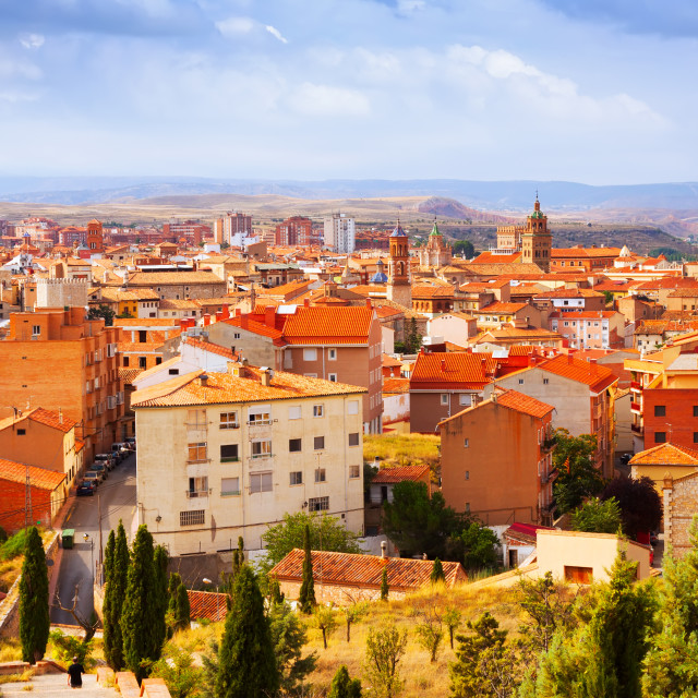 """view of Teruel with landmarks"" stock image"