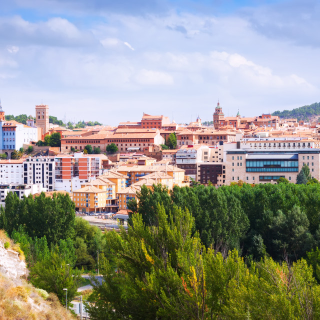 """""""day view of Teruel with main landmarks"""" stock image"""