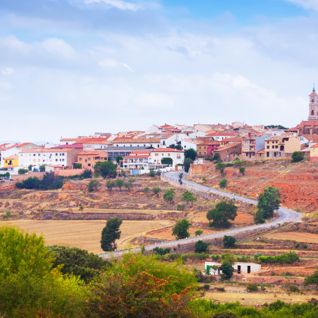 """""""General view of Sarrion in province of Teruel"""" stock image"""