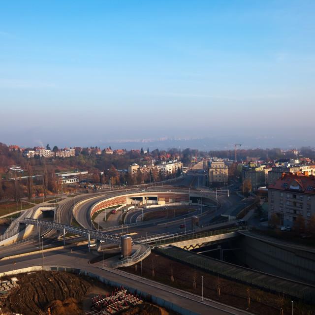 """Multi-level road interchange"" stock image"