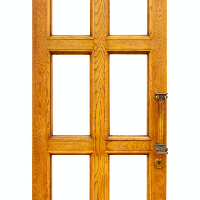 """wooden door. Isolated over white"" stock image"