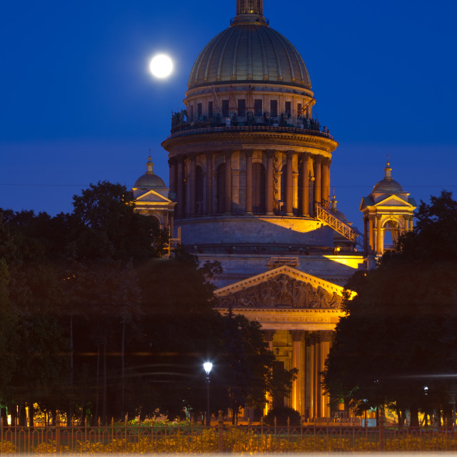 """Saint Isaac's Cathedral in St. Petersburg in night"" stock image"