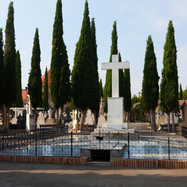 """Day view of cemetery. Teruel"" stock image"