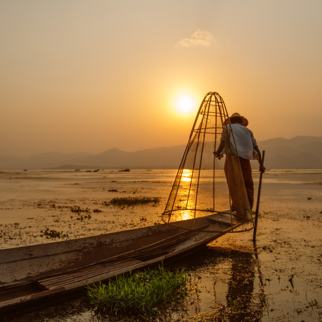 """fisherman of Inle Lake"" stock image"