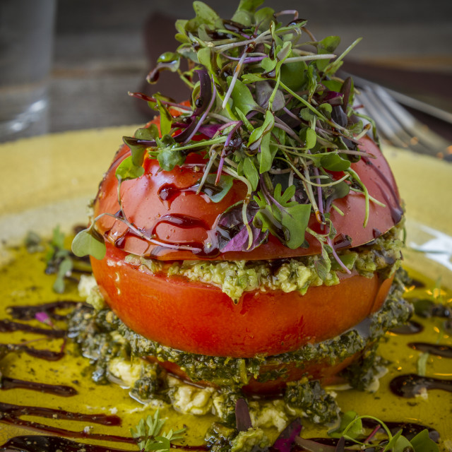 """""""Fresh Tomato Tower with Olive Tapenade"""" stock image"""