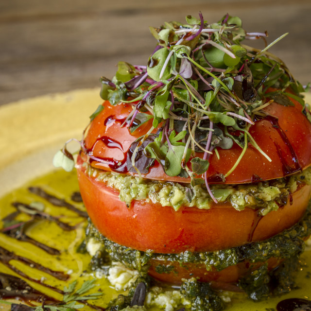 """Fresh Tomato Tower with Olive Tapenade"" stock image"