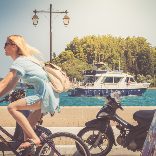 """Girl on a bike"" stock image"