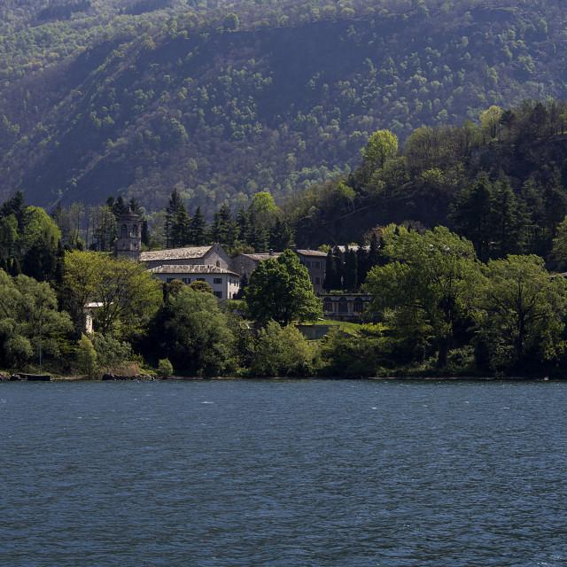 """Lake Como,Piona, the Abbey."" stock image"