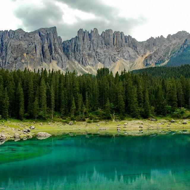 """Karersee in Süd Tirol"" stock image"
