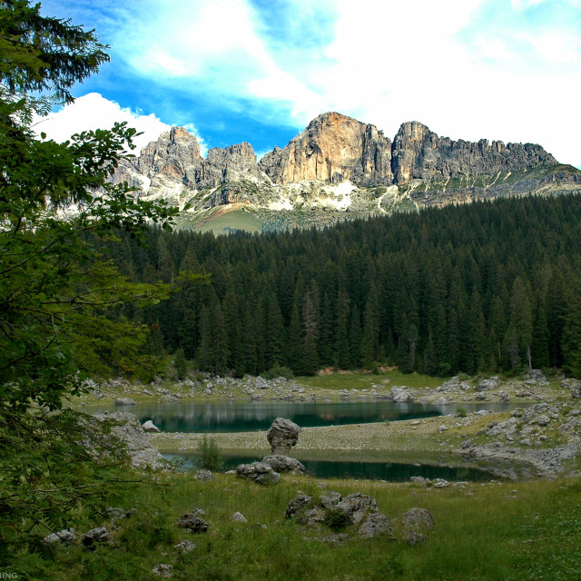 """Karer See in the Dolomites"" stock image"