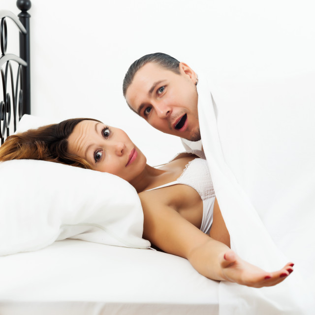 """""""Terrified man caught during sex with girlfriend"""" stock image"""