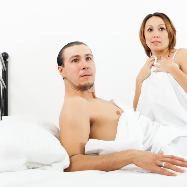 """""""Terrified couple caught during adultery"""" stock image"""