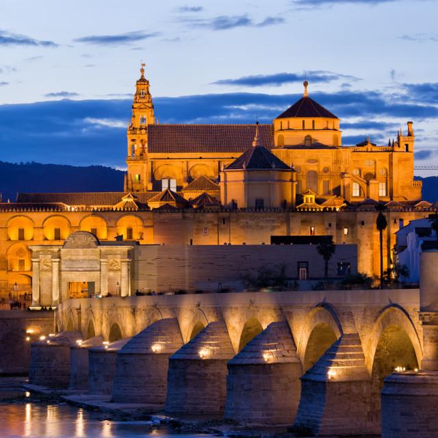 """Puente Romano and Mezquita at Twilight in Cordoba"" stock image"