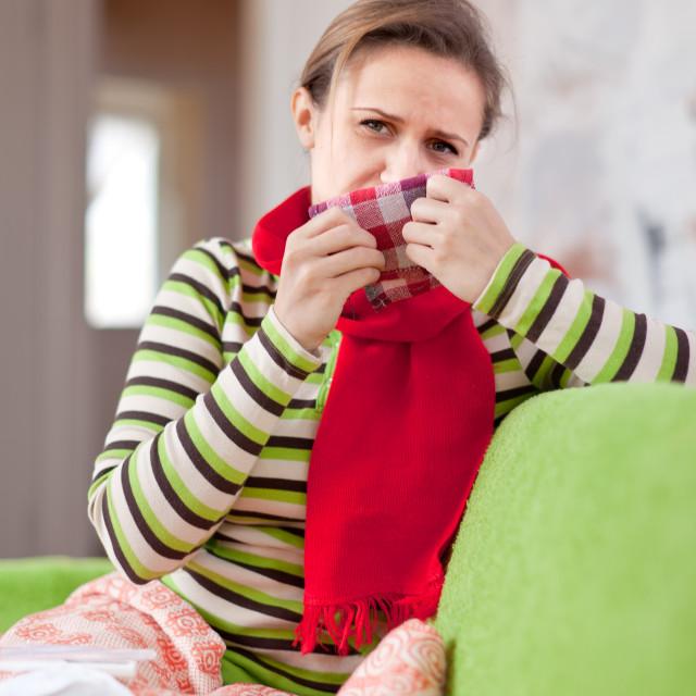 """sick woman uses handkerchief"" stock image"