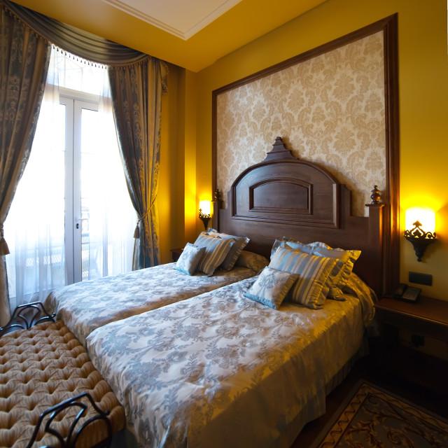 """bedroom of luxury hotel suite"" stock image"