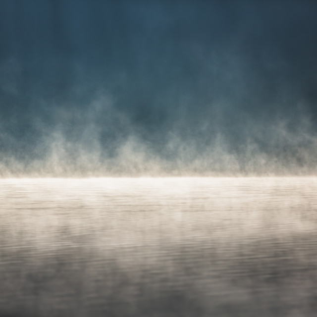 """Morning fog on the lake"" stock image"