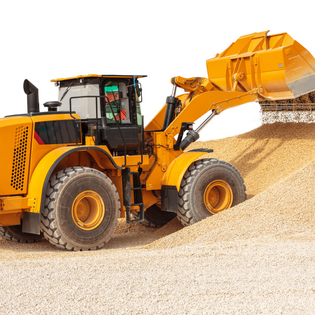 """""""Backhoe loader or bulldozer - excavator with clipping path isola"""" stock image"""