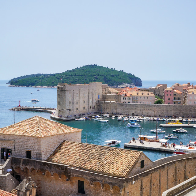 """Dubrovnik, Croatia, view at the old town and fortress"" stock image"